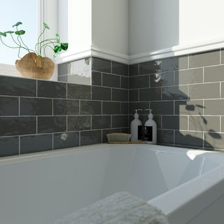 Laura Ashley Artisan charcoal grey wall tile 75mm x 150mm