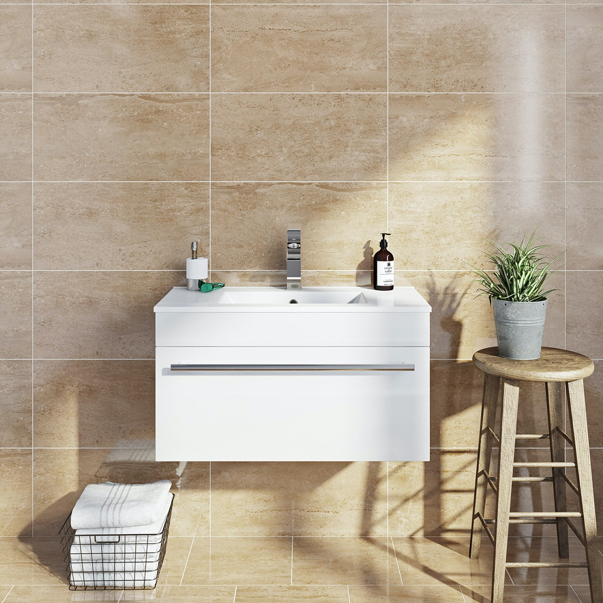 British Ceramic Tile Lux sand beige gloss tile 298mm x 598mm - Sold by Victoria Plum