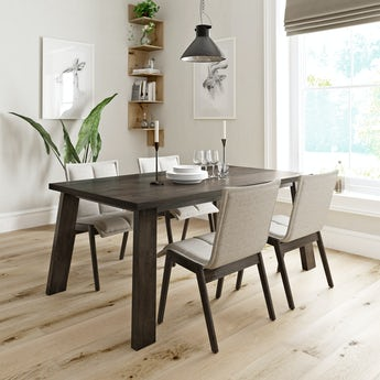 Lincoln walnut dining table with 4 x Hadley beige dining chairs