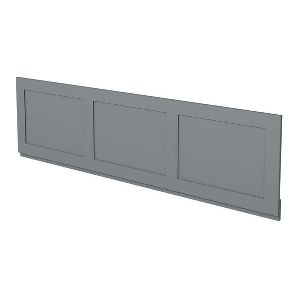 The Bath Co. Camberley satin grey wooden straight bath front panel 1700mm