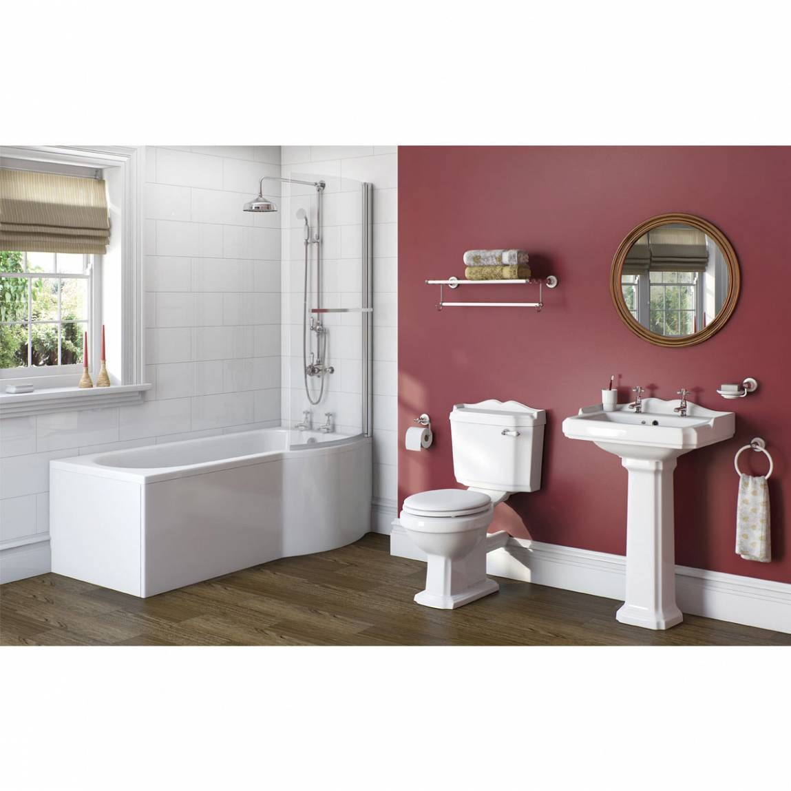 The Bath Co. Winchester bathroom suite with right handed P shaped shower bath and taps 1675 x 850