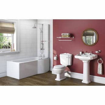 The Bath Co. Winchester bathroom suite with right handed P shaped shower bath 1675 x 850