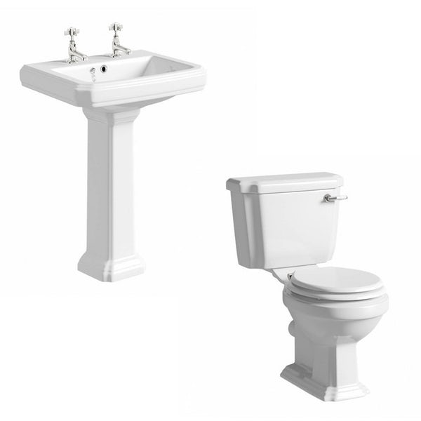 The Bath Co. Dulwich cloakroom suite with white seat and full pedestal basin 615mm with tap and waste