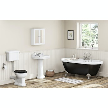 The Bath Co. Camberley black low level bathroom suite with freestanding bath