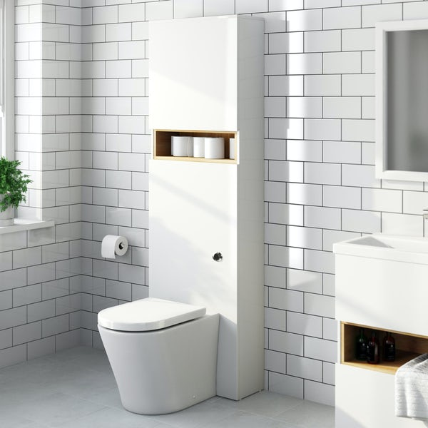 Tate white and oak tall toilet with mode arte seat