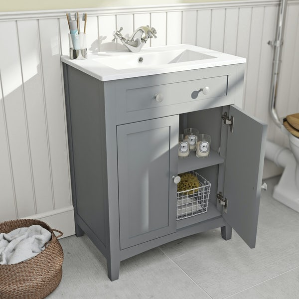 The Bath Co. Camberley satin grey vanity unit with basin 600mm
