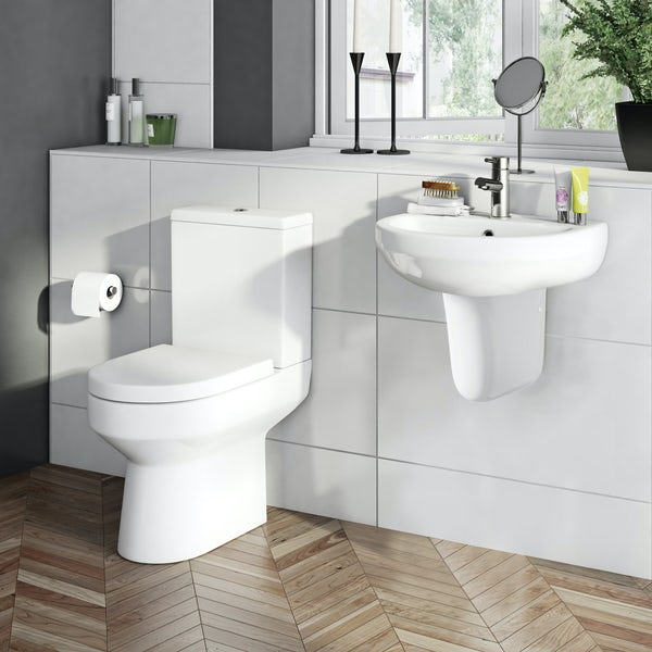 OrchardWharfecomplete cloakroom suite with semi pedestal basin 550mm with tap and waste