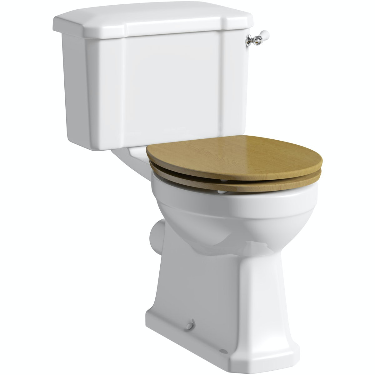 The Bath Co. Camberley close coupled toilet with wooden soft close seat oak effect with pan connector