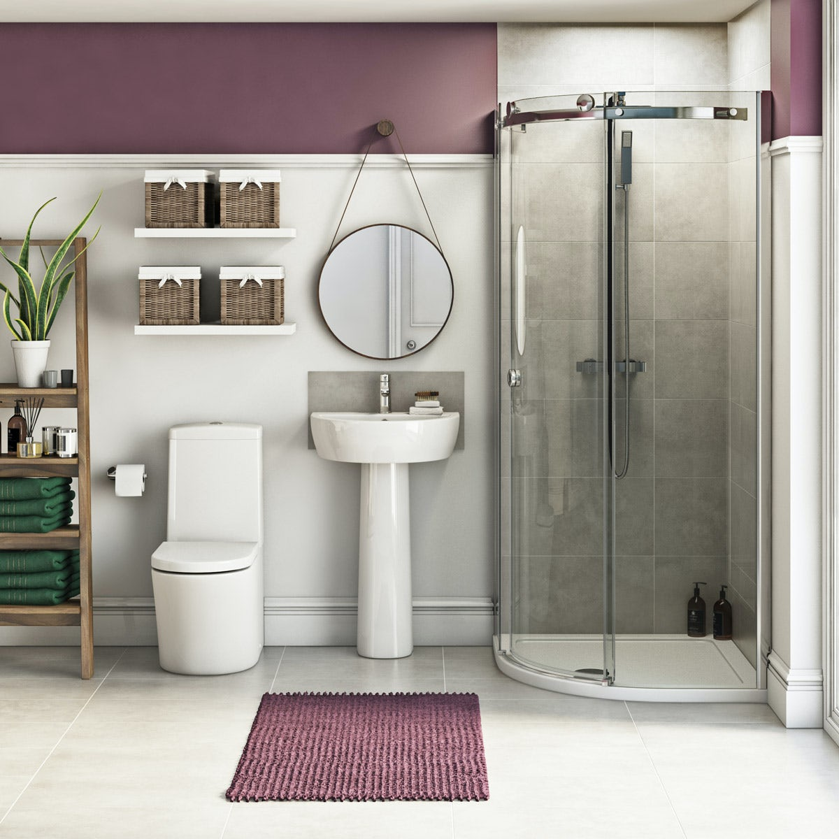 Mode Tate ensuite suite with quadrant enclosure and tray
