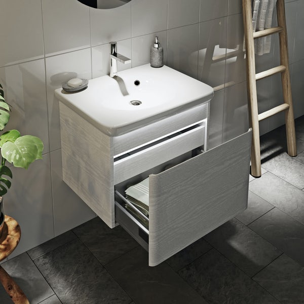 Mode Heath white wall hung vanity unit and basin 600mm