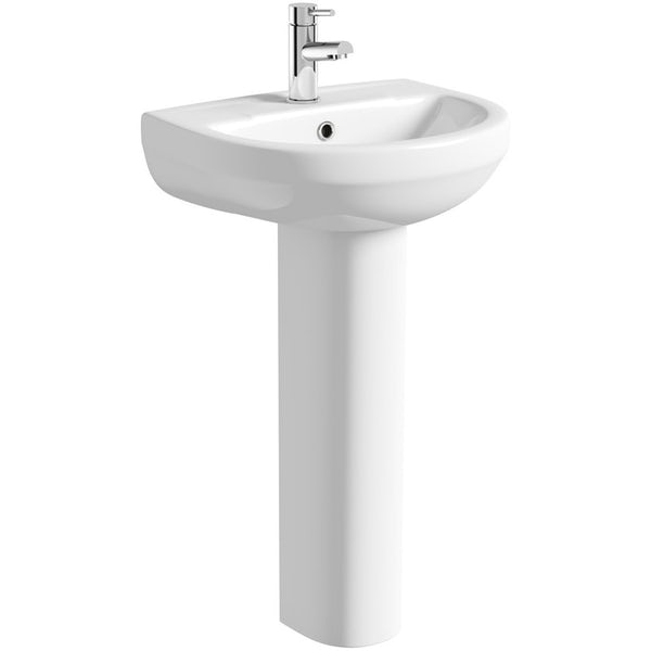 Orchard Eden cloakroom suite with full pedestal basin 550mm with tap and waste