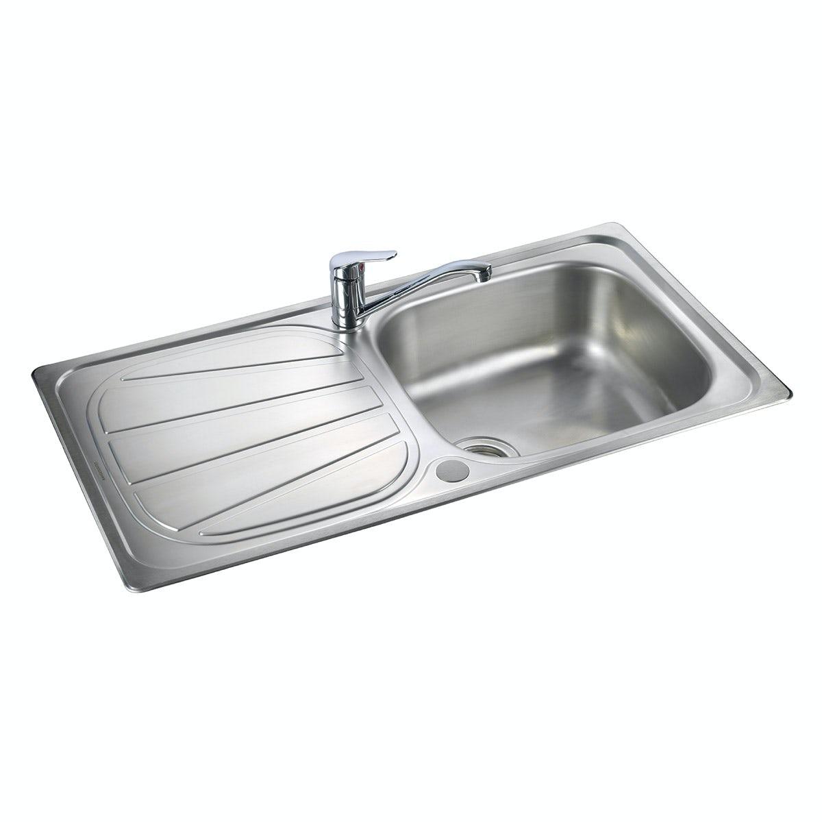 Rangemaster Baltimore 1.0 bowl reversible kitchen sink with waste kit