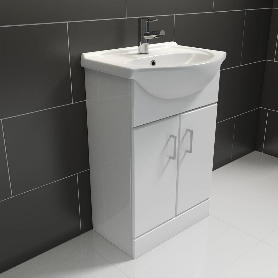 white bathroom sink cabinet white vanity unit with basin 550mm victoriaplum 21443