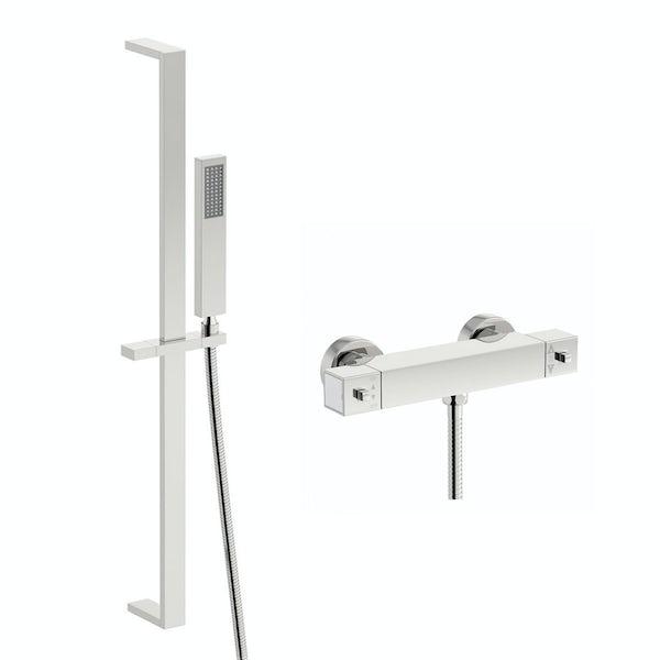 Quadra thermostatic bar shower valve with Tetra sliding rail kit