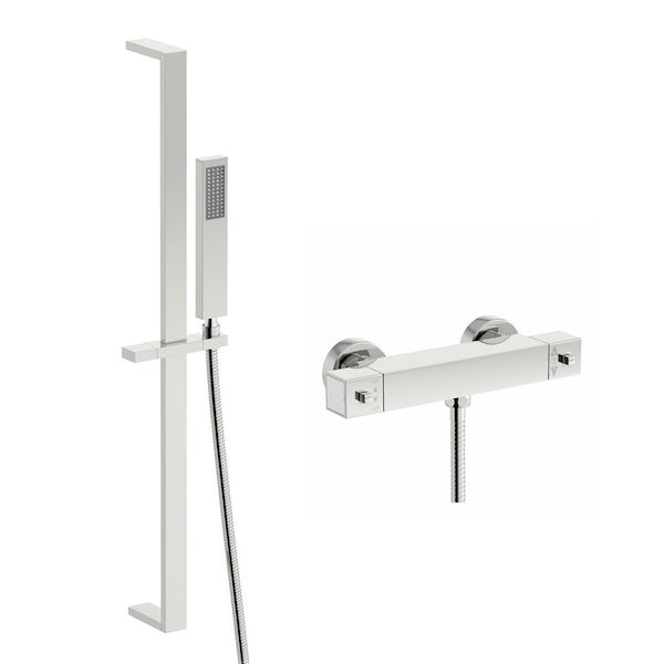 Quadra thermostatic bar shower valve with Tetra sliding rail kit