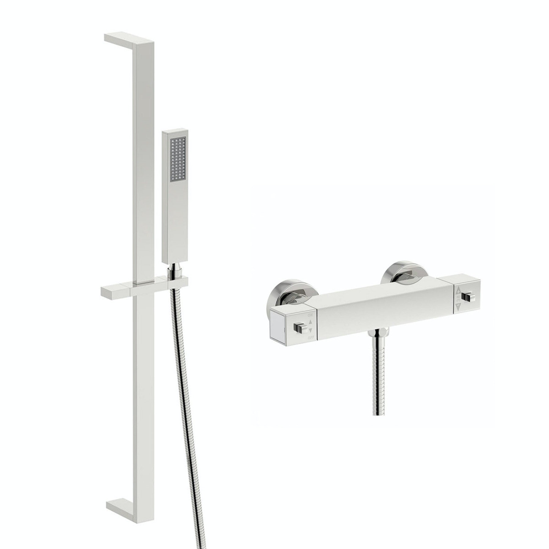 Orchard Wye thermostatic bar shower valve with slider rail kit