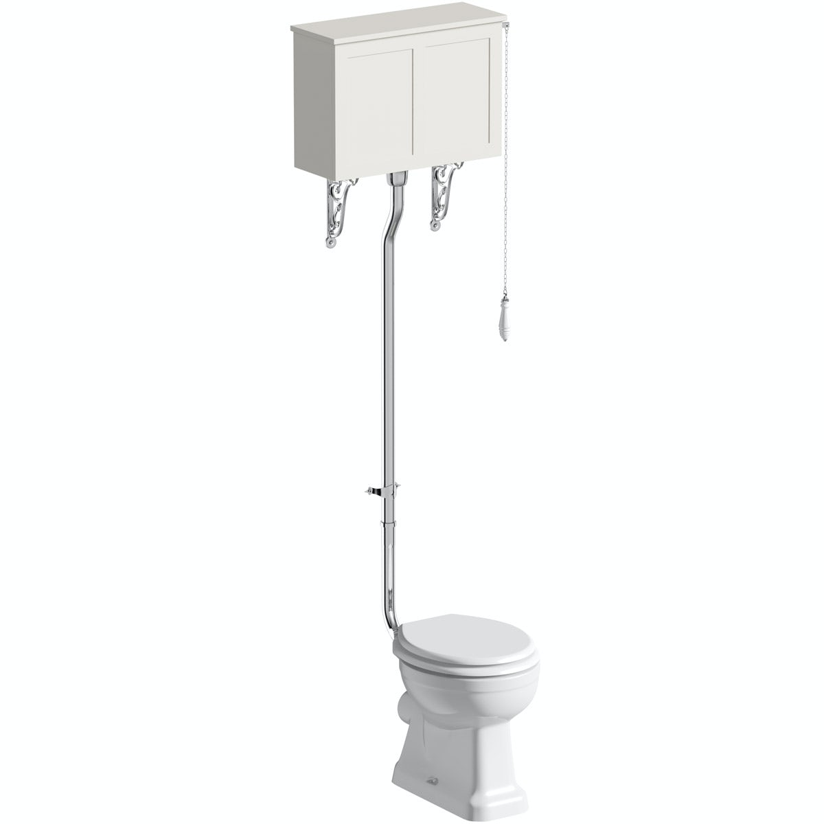 The Bath Co. Camberley high level toilet with satin ivory toilet box and white seat with pan connector