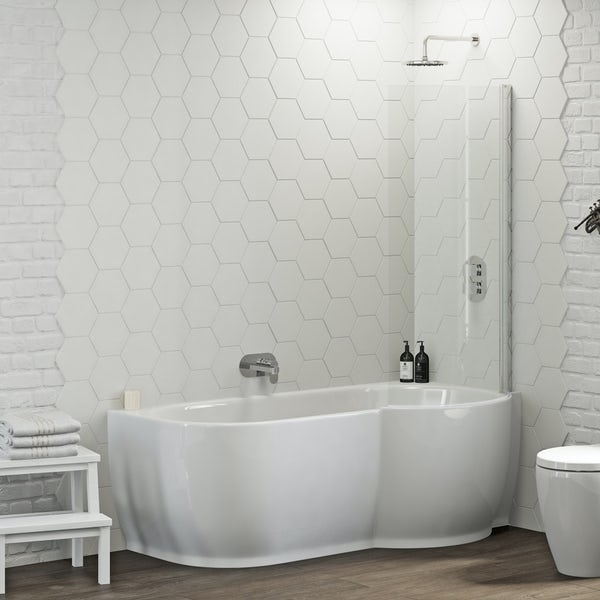 Harrison P Shaped Freestanding Shower Bath & 6mm Screen RH