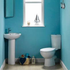 Palm cloakroom corner toilet and full pedestal basin suite