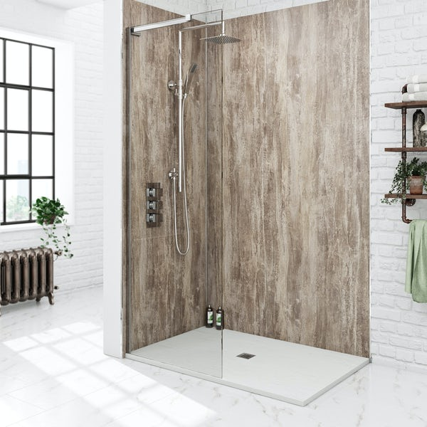 Mode 8mm walk in shower glass screen with white slate effect tray 1200 x 800
