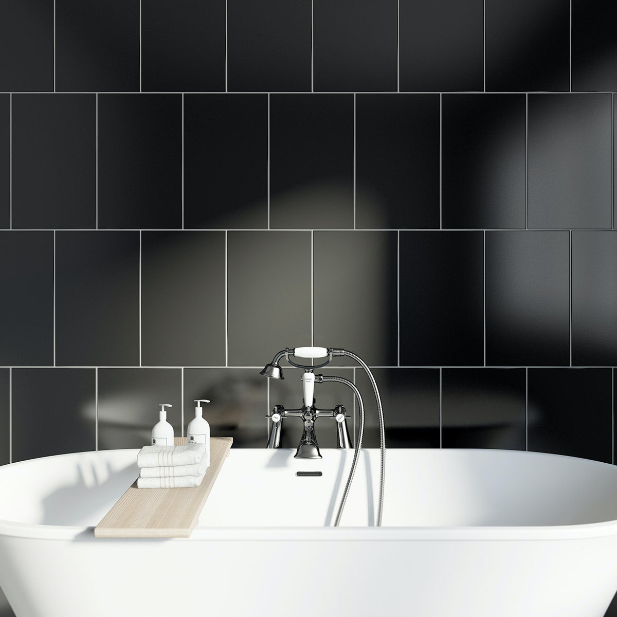 Studio Conran plain black field gloss tile 248mm x 398mm