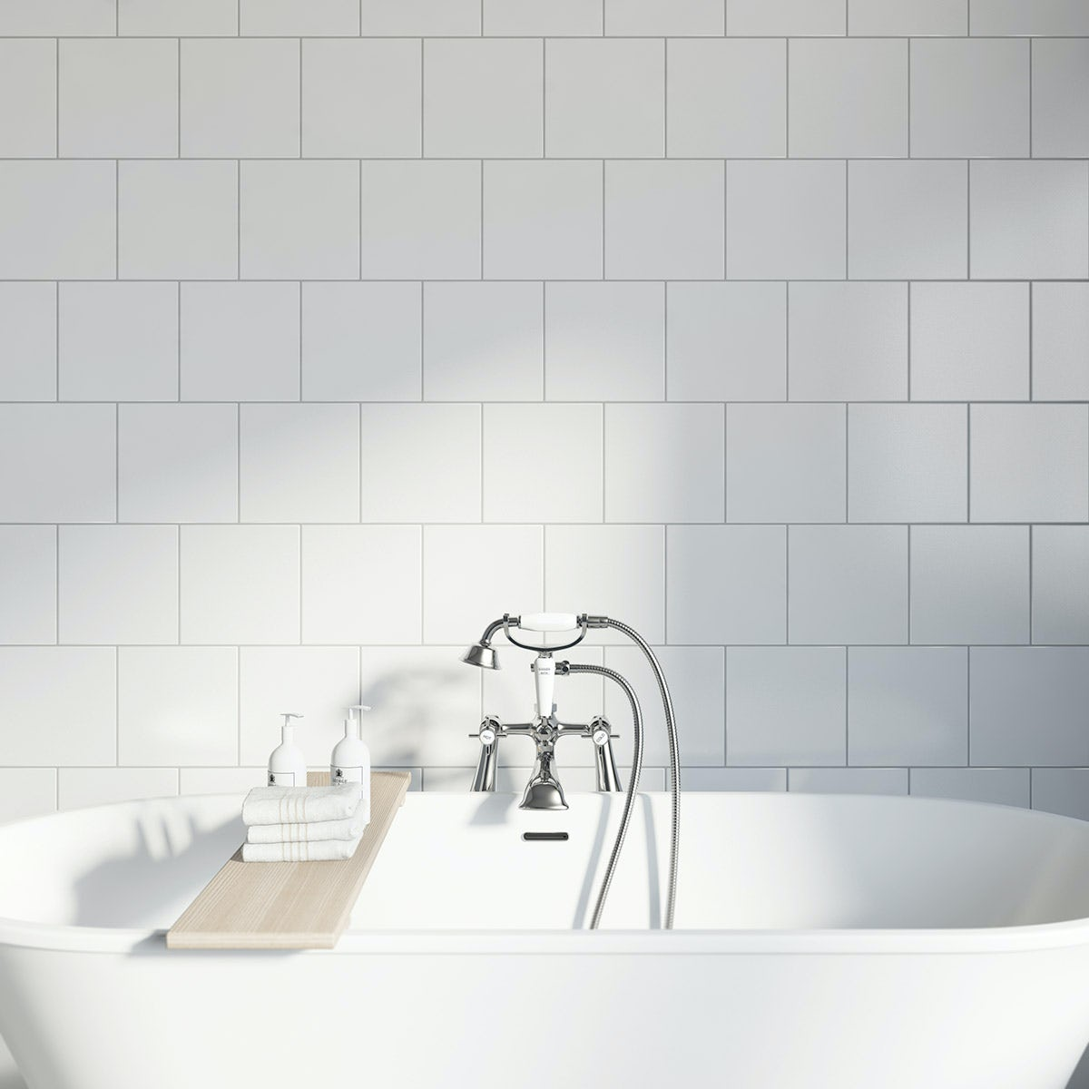 Studio Conran plain white gloss tile 198mm x 198mm