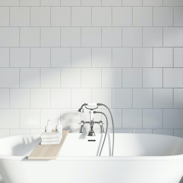 Studio Conran plain white gloss tile 198mm x 198mm