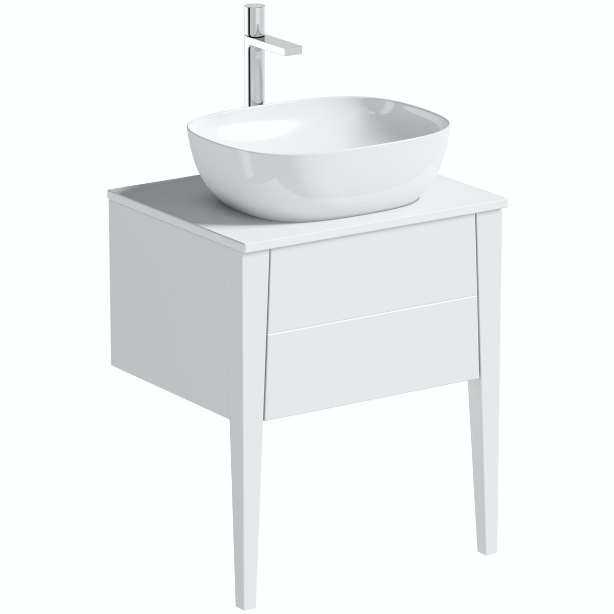 Mode Hale white gloss countertop vanity unit and basin 600mm