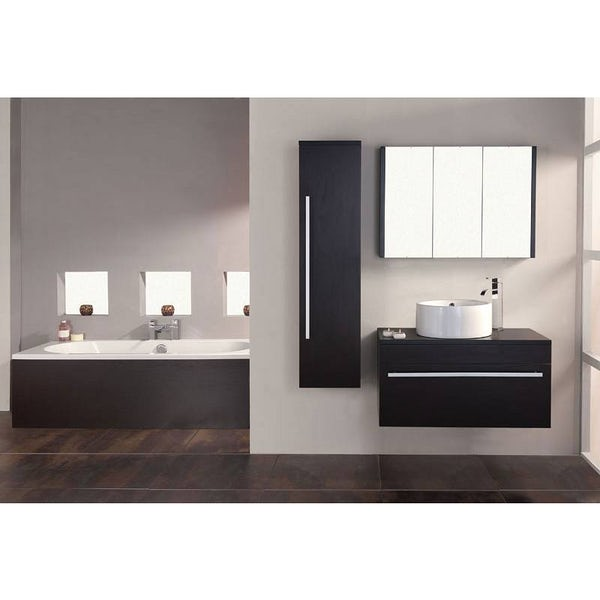 Odessa wenge 3 door bathroom mirror cabinet for Wenge bathroom mirror