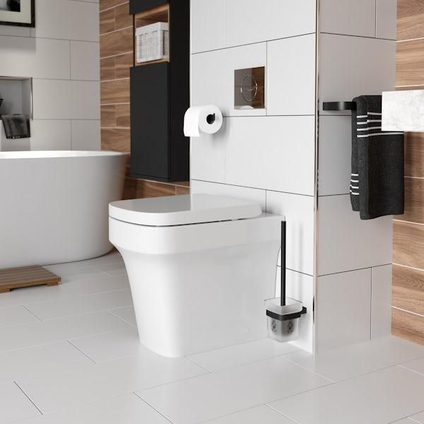 Mode Spencer black toilet brush and holder