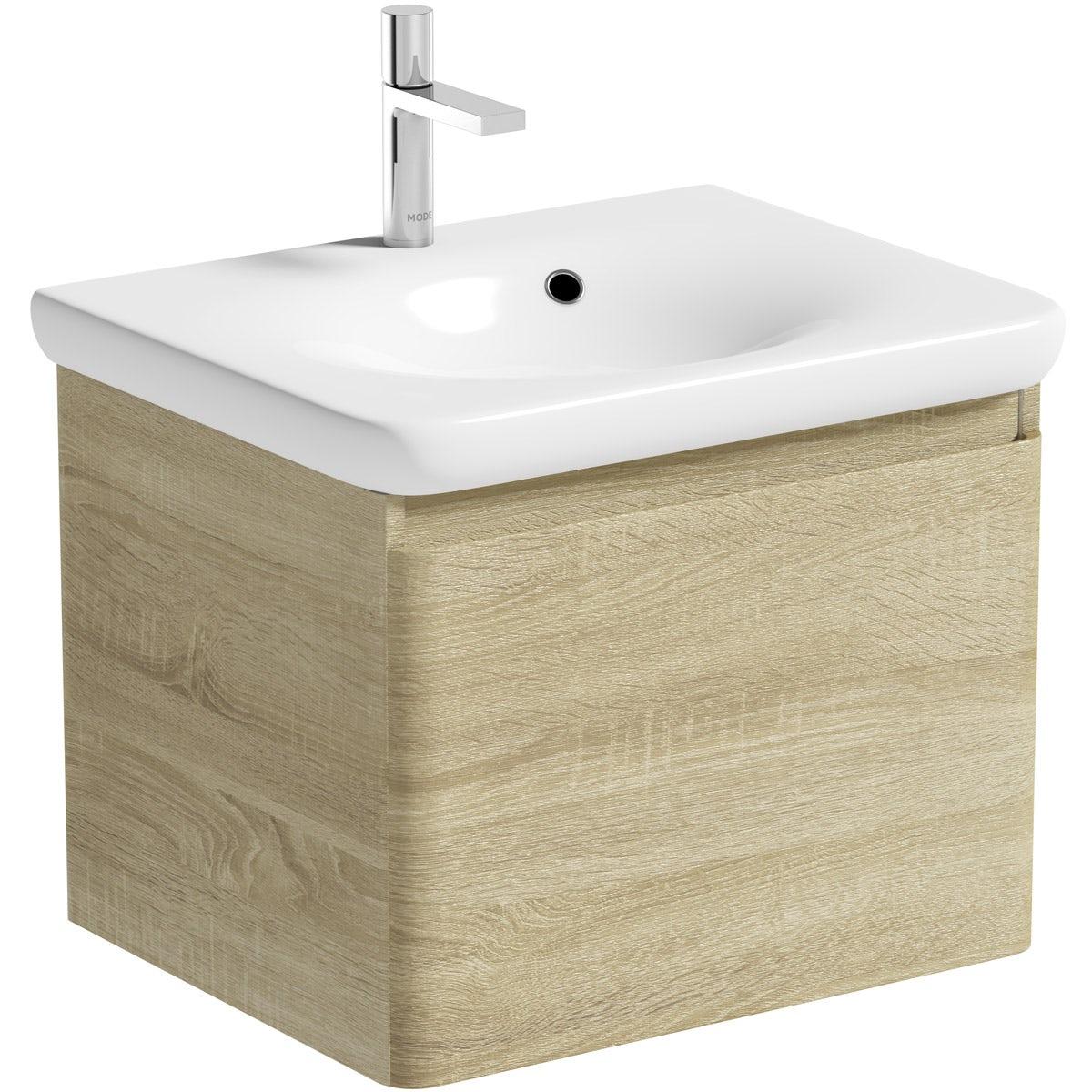 Mode Heath oak wall hung vanity unit and basin 600mm