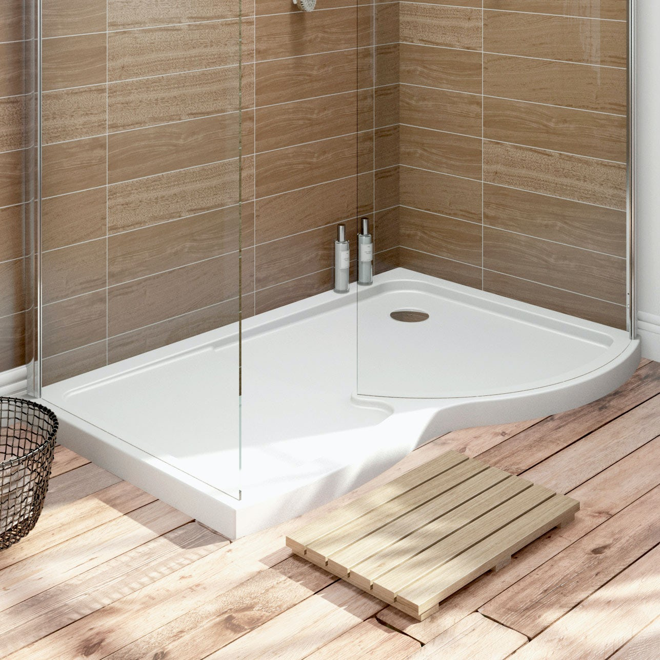 Walk In Shower Cubicles Part - 26: Free Delivery Curved Walk In Shower Enclosure Tray RH