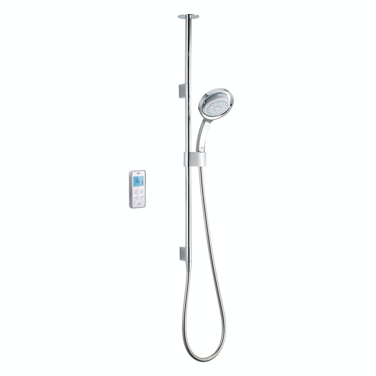 Mira Vision ceiling fed digital shower standard