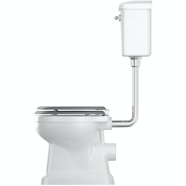 Camberley low level toilet inc grey soft close seat