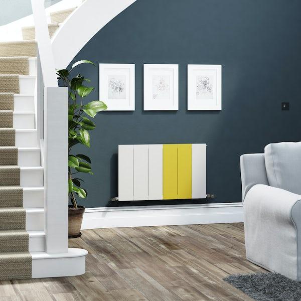 Terma Neo soft white and zinc yellow horizontal radiator 545 x 900