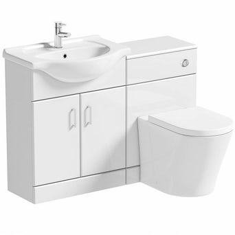 Sienna Arc White Gloss Combination Vanity Unit Large