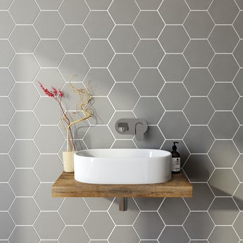 Hex grey matt tile 175mm x 202mm