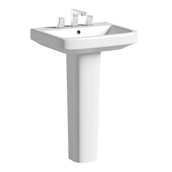 Mode Ive full pedestal 3 tap hole basin 550mm