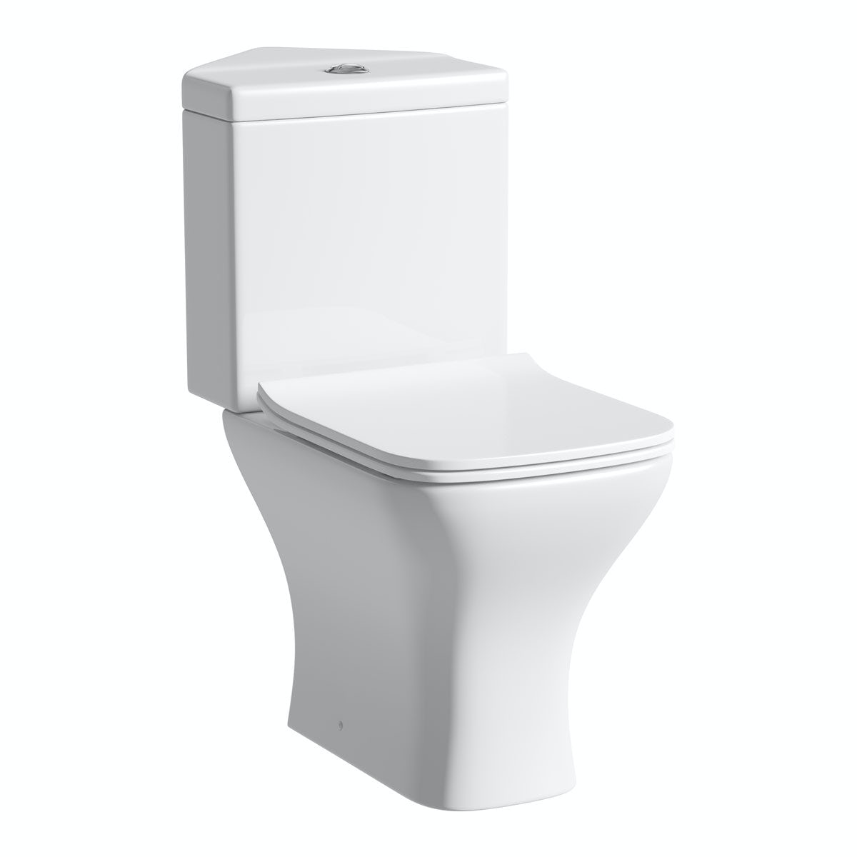 Compact Square corner close coupled toilet with slimline soft close toilet seat