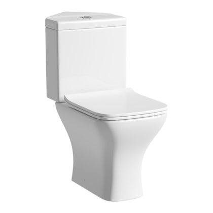 Derwent Square corner close coupled toilet with slimline soft close toilet seat
