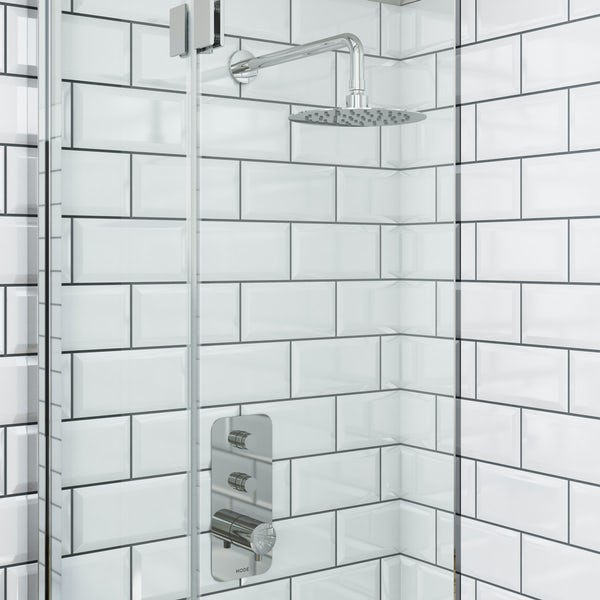Mode Foster thermostatic push button shower set with wall arm and bath filler waste