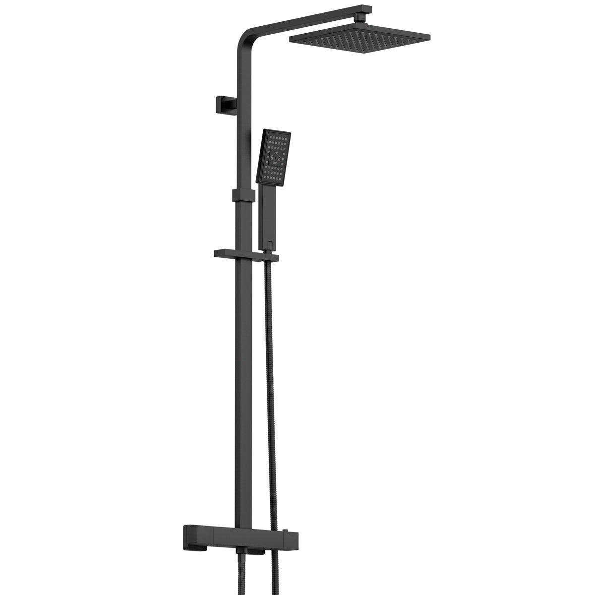 Orchard Wye black thermostatic bar valve shower system