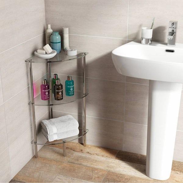 Options Freestanding Quadrant 3 Glass Shelf Unit