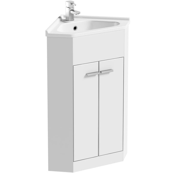 Clarity Compact corner white cloakroom suite with square close coupled toilet