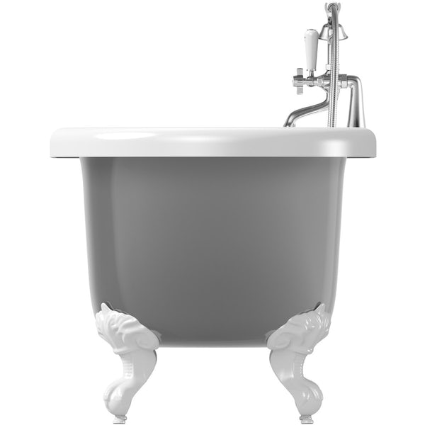 The Bath Co. Dulwich grey roll top bath with white ball and claw feet offer pack