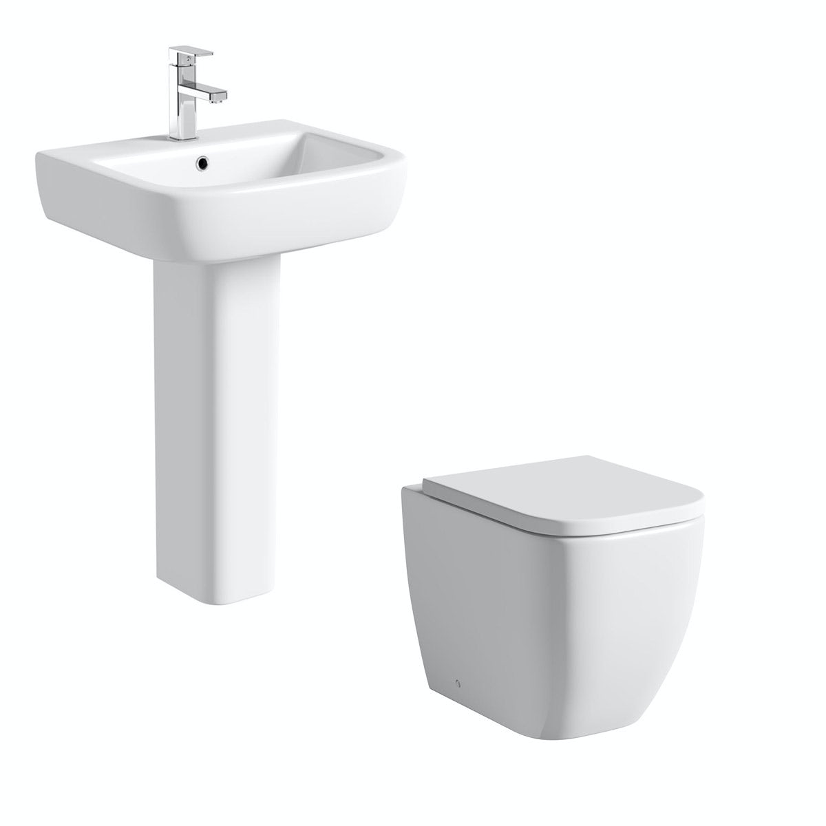 Mode Ellis cloakroom suite with full pedestal basin 560mm