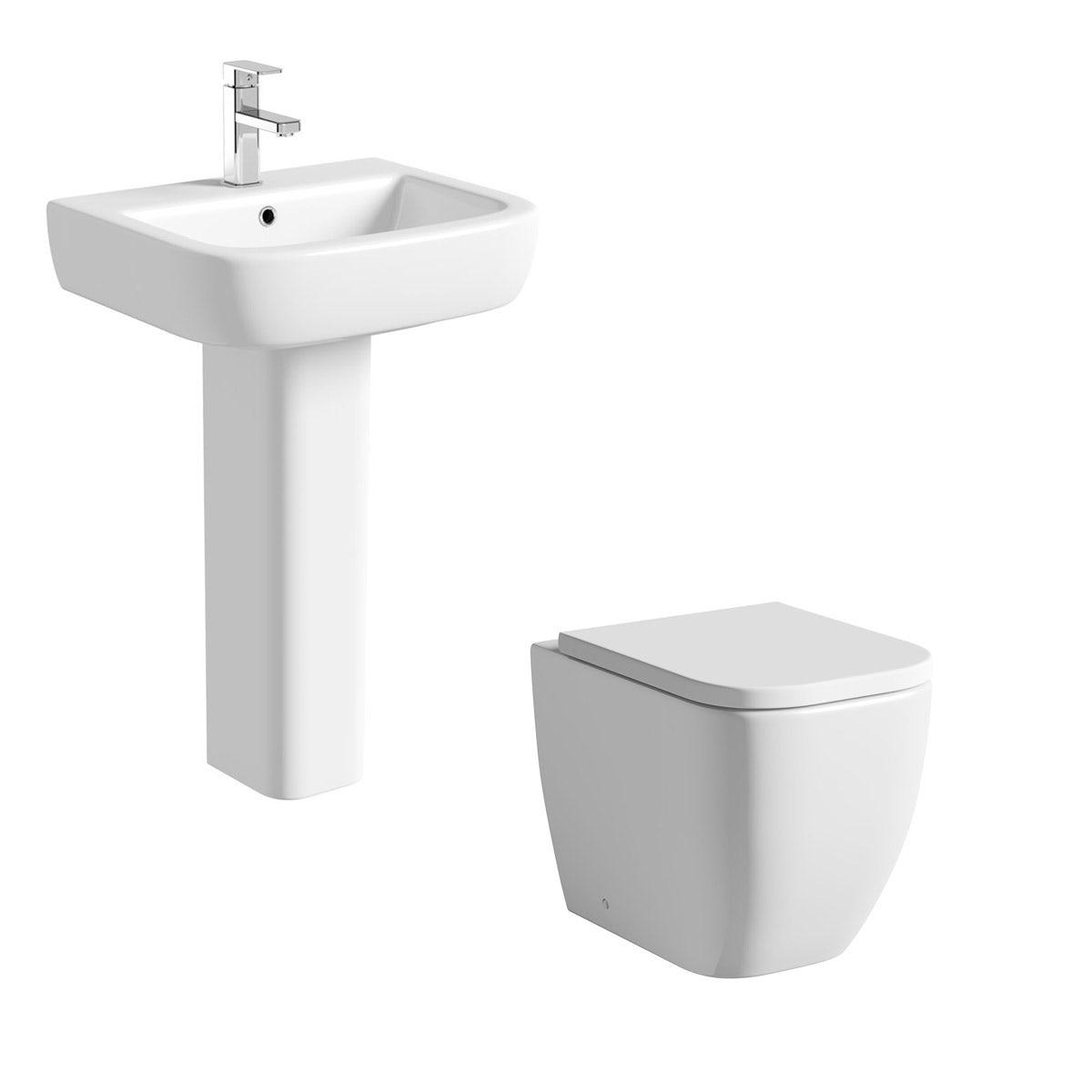 Mode Ellis cloakroom suite with full pedestal basin 560mm