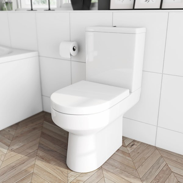 Oakley close coupled toilet and Pichola wall hung basin cloakroom set