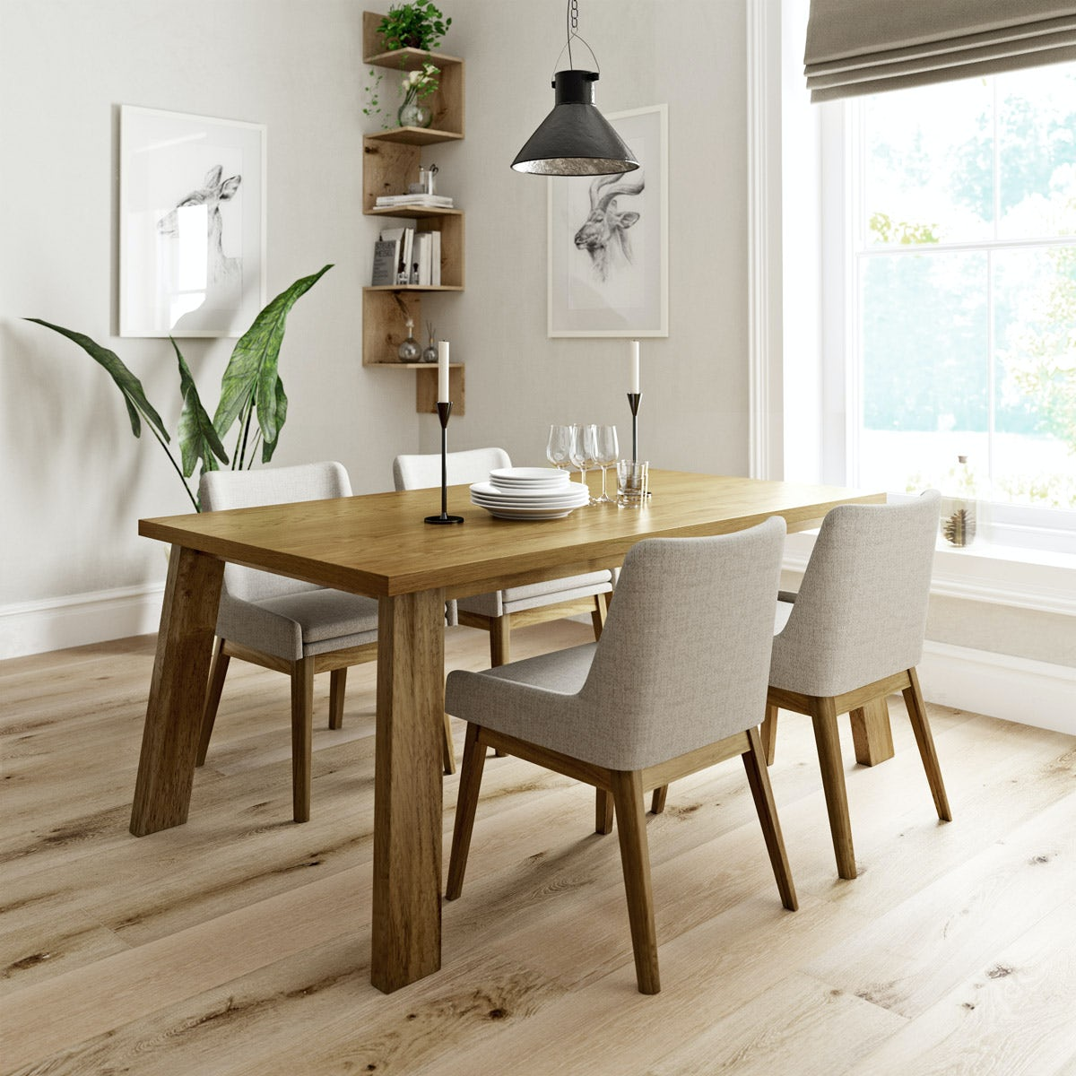 Lincoln Oak Table with 4x Lincoln beige chairs
