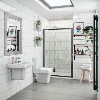 Carter bathroom suite with black shower door